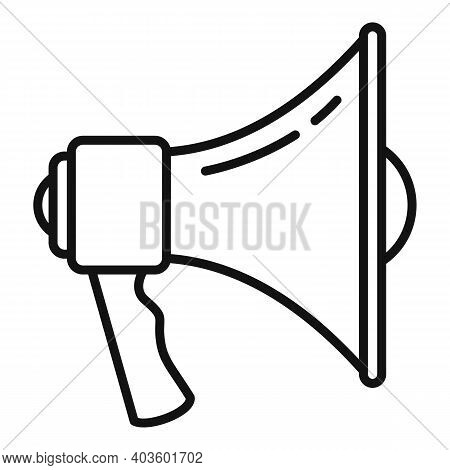 Policeman Megaphone Icon. Outline Policeman Megaphone Vector Icon For Web Design Isolated On White B