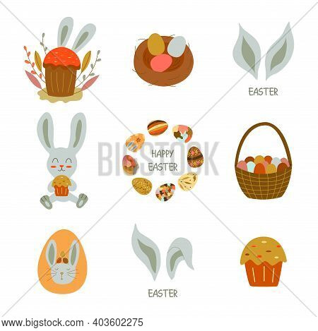 Set Of Elements For The Holiday Easter. Rabbit With Easter Cake, Eggs In The Nest, Basket Of Colored