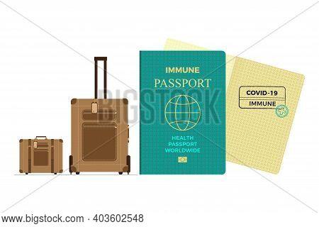 Covid-19 Immunity Passport Or Risk-free Certificate Concept. Traveling During The Coronavirus Pandem