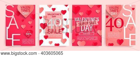 Set Valentines Day Sale Offer Banners With Pink And Red Paper Hearts, Poster Template.abstract Backg