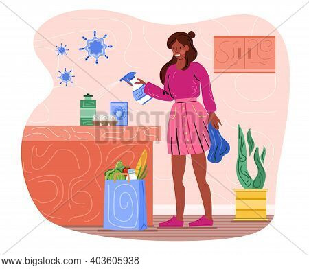 Female Character Is Disinfecting Groceries From The Store At Home. Concept Of Coronavirus Safe Shopp
