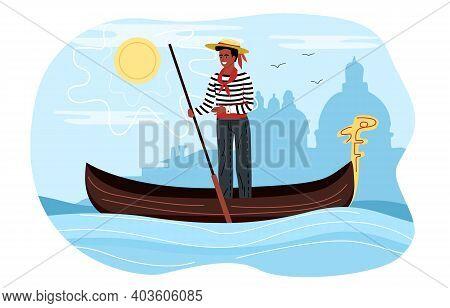 Professional Male Gondolier Floating On Gondola. Italian Summer Sunny Landscape On The Background. F