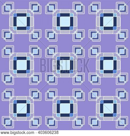 Geometric Seamless Pattern Of Squares In Blue Tones, On A Lilac Background.