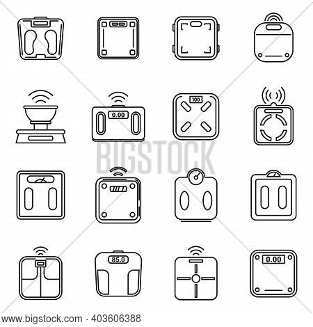 Body Smart Scales Icons Set. Outline Set Of Body Smart Scales Vector Icons For Web Design Isolated O