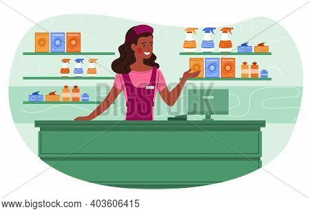 Smiling Female Cashier In Supermarket Is Greeting Customers And Selling Household Chemicals. Saleswo