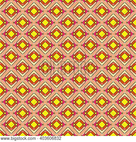 Seamless Pattern With Rhombuses, Squares And Dots. Bright Shades Of Yellow, Orange And Scarlet, Ligh