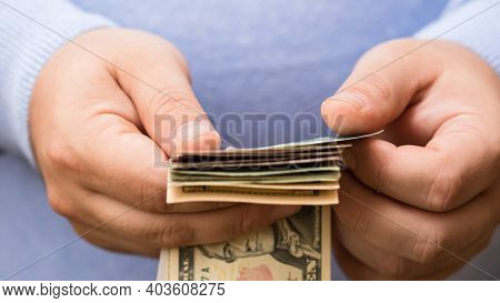 Man Hands Counting Money, Counting Us Dollars Currency, Close Up