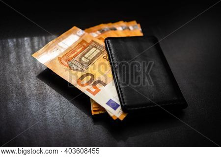 Man Wallet With Money On The Table, Wallet With Euro
