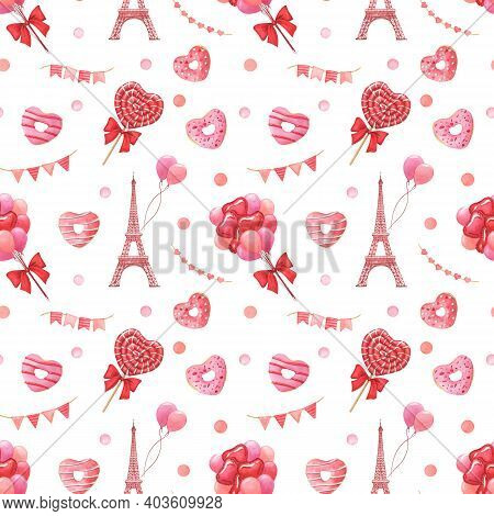 Valentines Day Festive Hand-drawn Watercolor Seamless Pattern. Love, Travel And Celebration Concept