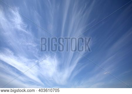 Beautiful Sky Landscape With White Clouds High In The Stratosphere On Bright Sunny Day Horizontal Ph