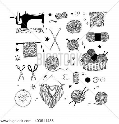 Hand Drawn Vector Linear Illustration - Set Of Knitting And Crafts. Needlework, Yarn, Pins, Buttons,