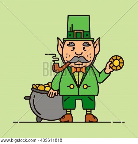 Saint Patrick's Day Mascot. Gift Card, Design For Celebrities With Leprechaun. Holiday Poster, Greet