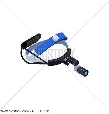 Otolaryngologist Magnifying Lens 3d Icon On White Background Isometric Vector Illustration