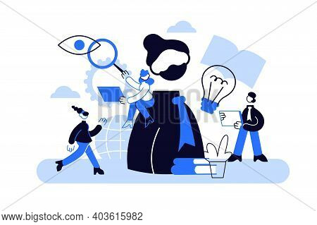 Cognition Vector Illustration. Flat Tiny Mental Learning Persons Concept. Symbolic Information
