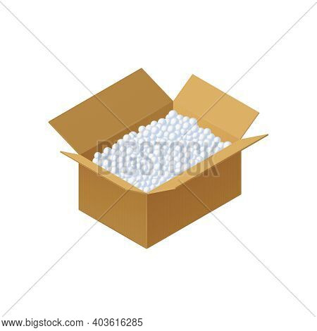 Loose Fill Packaging Cardboard Box On White Background 3d Isometric Vector Illustration