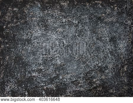Food Photography Background With Black And Grey Color. Empty Background Top View. Concrete Wall Text