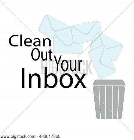 Clean Out Your Inbox, Letters And Basket Silhouette, Spam Or Junk Mail Cleaning Concept Illustration