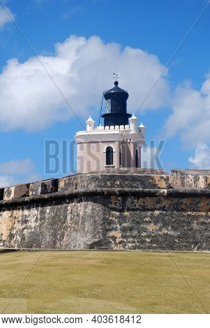 Beautiful Lighthouse At The Fort In Old San Juan.