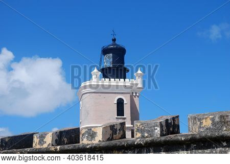Beautiful Lighthouse At A Fort In Old San Juan Puerto Rico.