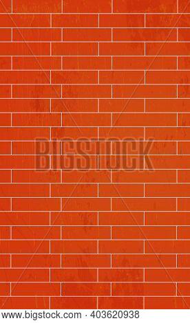 Realistic Background Wall, Red Brickwork Brickwork - Vector Illustration