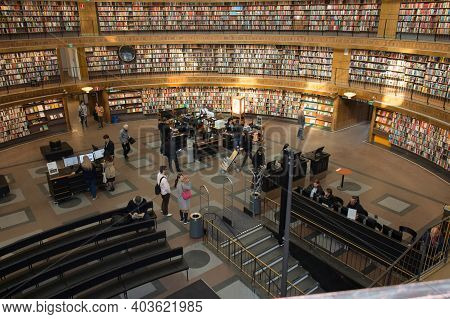 Sweden, Stockholm - April 23 2019: Interior View Of National Public Library On April 23 2019 In Stoc