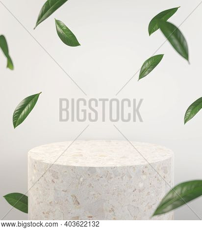 Modern Mockup Stone Podium With Green Leaf Fall Dept Of Field Abstract Background 3d Render