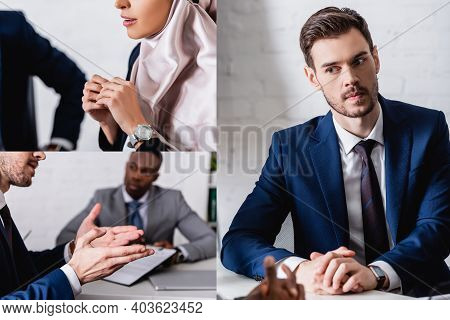 Collage Of Multicultural Business Partners Having Meeting With Interpreter In Office