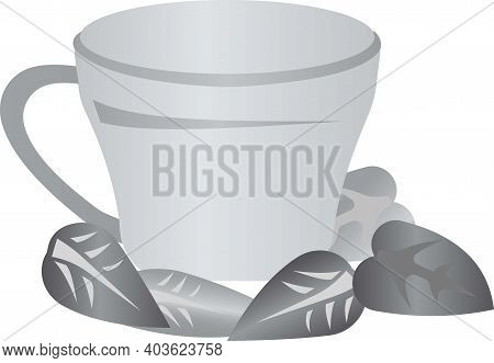 Mug For Tea With Mint Leaves. Grayscale Image Of Food.