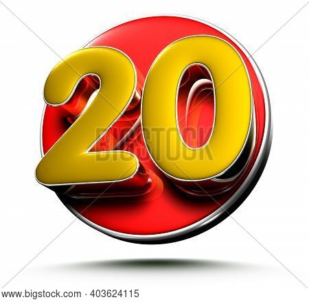 3d Illustration Gold Number 20 Isolated On A White Background With Clipping Path.