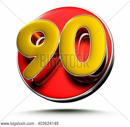 3d Illustration Gold Number 90 Isolated On A White Background With Clipping Path.