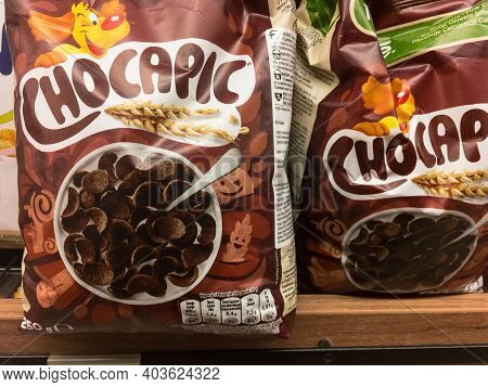 Belgrade, Serbia - January 10, 2021: Chocapic Logo On Boxes Of Cereal For Sale. Part Of Nestle, Choc