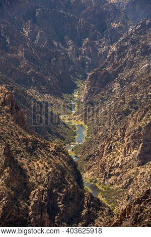 Gunnison River Flows Through Canyon In Colorado Wilderness