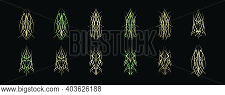 Set Of Pinstripes Cartoon Icon Design Template With Various Models. Modern Vector Illustration Isola