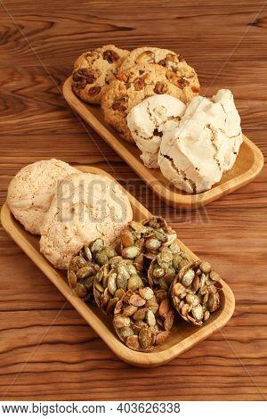 Oatmeal Cookies With Walnuts And Raisins, Sugar-coated Pumpkin Seed Cookies,  Meringue Cookies With