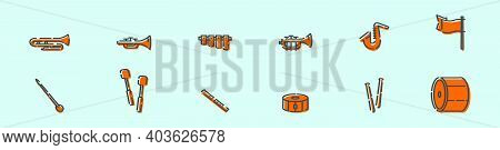 Set Of Marching Band Cartoon Icon Design Template With Various Models. Modern Vector Illustration Is