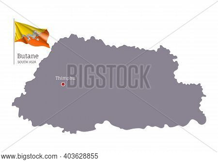 Silhouette Of Butane Country Map. Gray Editable Map Of Butane Kingdom With Waving National Flag And