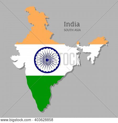 Map Of India With National Flag. Highly Detailed Editable Map Of India, South Asia Country Territory