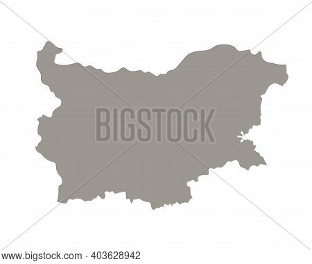 Silhouette Of Bulgaria Country Map. Highly Detailed Editable Gray Map Of Bulgaria, European Land Ter