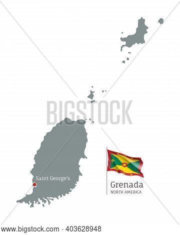 Silhouette Of Grenada Country Map. Gray Editable Map With Waving National Flag And Saint George City