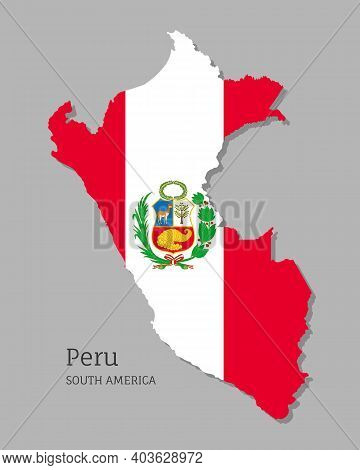 Map Of Peru With National Flag. Highly Detailed Editable Peruvian Map, South America Country Territo