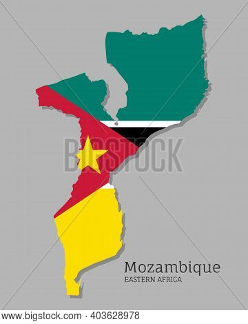 Map Of Mozambique With National Flag. Highly Detailed Editable Map Of Eastern Africa Country Territo