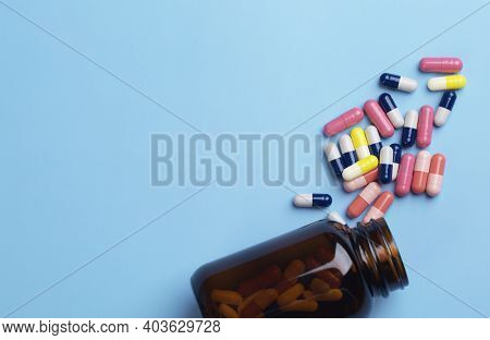 Various Medicine. Different Capsule And Pill Bottle