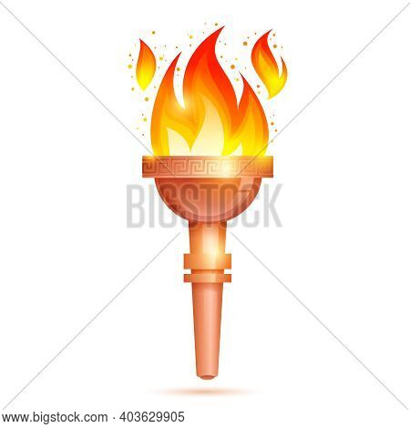 Winner Torch With Burning Fire Icon Isolated On White Background Vector Illustration