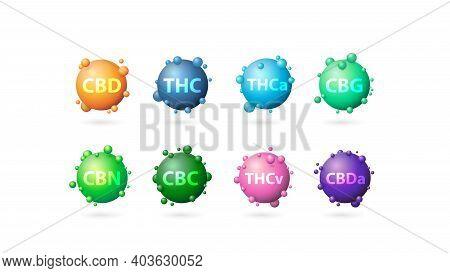 Chemical Formula Of Marijuana Leaves, Collection Of 3d Chemical Elements Of Marijuana Leaves Isolate