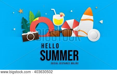 Summer Sale Vector Banner Set Design With Text Hello Summer In A Blue Background For Marketing Promo