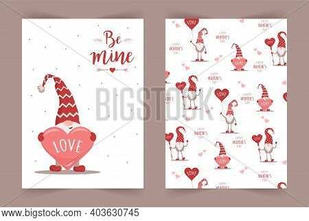 Vector Valentines Day Cards With Gnomes. Be Mine. Scandinavian Cute Elves In Red Winter Hats On Whit