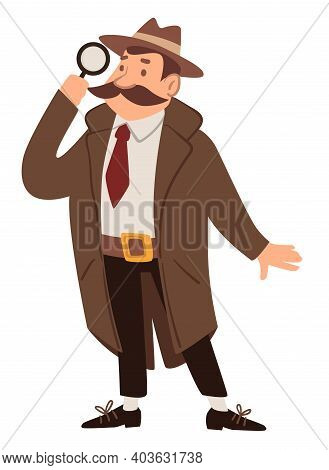Detective Or Spy With Magnifying Glass, Agent Job