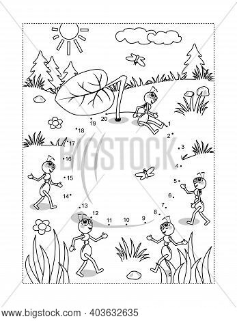 Apple And Ants Full Page Connect The Dots Puzzle And Coloring Page, Activity Sheet For Kids. Answer