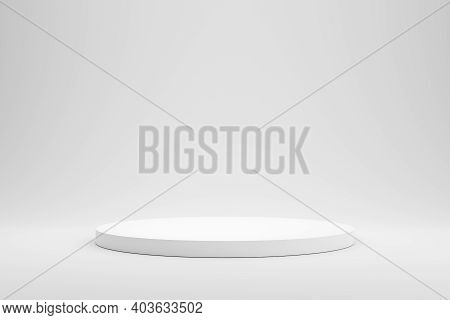 Empty Podium Or Pedestal Display On White Background With Cylinder Stand Concept. Blank Product Shel