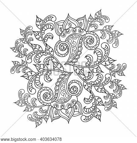 Mandala. Coloring Book Page . Doodle Linear Art. Anti Stress For Adults And Children . Hand Drawn De